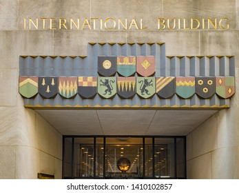 New York City - May 24, 2019: International Building in Rockfeller Center, Art Deco building complex, situated between 5th and 6th Avenue in New York City.