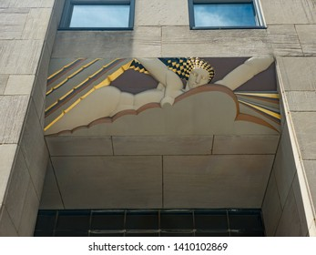 New York City - May 24, 2019: Rockfeller Center, Art Deco building complex, situated between 5th and 6th Avenue in New York City.