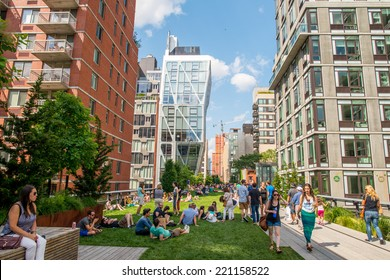 NEW YORK CITY - MAY 24, 2013: The High Line Park in Manhattan. The High Line is a popular linear park built on the elevated train tracks above Tenth Ave in New York City