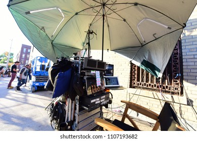 "NEW YORK CITY - MAY 25 2018: Motion picture crews took over the popular Brooklyn film location, Irish Haven, to film key scenes in ""The Kitchen"""