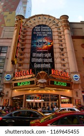 NEW YORK CITY - MAY 25, 2014: Regal Theatre is a famous movie palace located on 42nd Street in Times Square, Manhattan, New York City, USA.