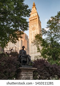 New York City - May 27, 2019: The Metropolitan Life Insurance Company Tower from Madison Square Park in Manhattan, New York.