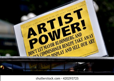 New York City - May 29, 2010: Artist power protest sign displayed by one of the vendors in Union Square