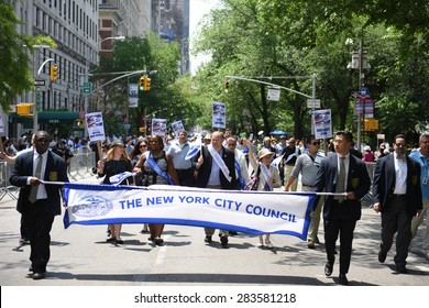 NEW YORK CITY - MAY 31 2015: the 51st annual Israel Day parade filled Fifth Avenue from 57th to 74th Streets with thousands of marchers & spectators