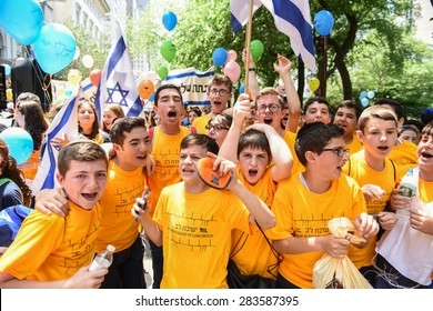 NEW YORK CITY - MAY 31 2015: the 51st annual Israel Day parade filled 5th Avenue from 57th to 74th Streets with thousands of marchers & spectators