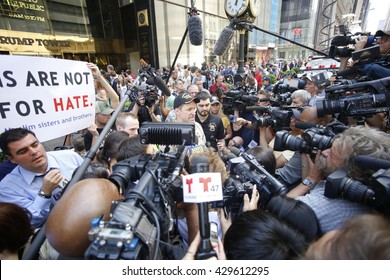 NEW YORK CITY - MAY 31 2016: Pro & anti Trump activists gathered outside Trump Towers to debate candidate's support for veterans.  Vets vs Hate spokesman Terry O'Brien speaks to press