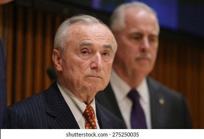NEW YORK CITY - MAY 4 2015: mayor Bill de Blasio & commissioner William Bratton held a press conference to announce the death of officer Brian Moore & the upgrade of charge against Demetrius Blackwell