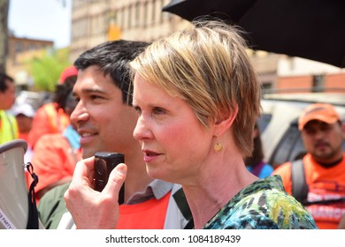 NEW YORK CITY - MAY 5 2018: NYC Council member Carlos Menchaca joined NYC Communities for Change & Gubernatorial candidate Cynthia Nixon to protest ICE raids & demand passage of the Liberty Act