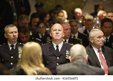 NEW YORK CITY - MAY 5 2016: Mayor Bill de Blasio & commissioner William Bratton presided over the unveiling of 19 new names on the NYPD's memorial wall. Chief of Department James O'Neill