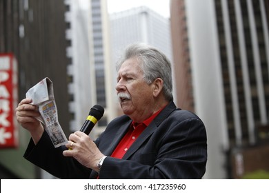 NEW YORK CITY - MAY 5 2016: Striking Verizon workers gathered with members of other unions & labor leaders in front of Verizon's Wall St headquarters. CWA president John Shelton