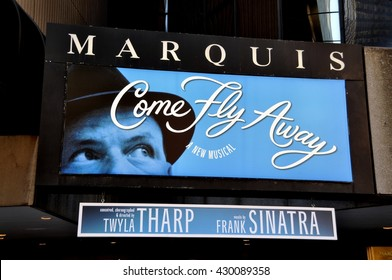 New York City - May 5, 2010:  Marquis Theatre marquee for Twyla Tharp's Frank Sinatra musical Come Fly Away