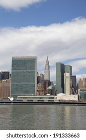 NEW YORK CITY - MAY 6:The United Nations building and Chrysler building in midtown Manhattan on May 6, 2014 in New York.