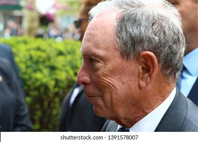 NEW YORK CITY - MAY 7 2019: Funeral Services were held for Queens County District Attorney Richard Brown at the Reform Synagogue of Forest Hills. Michael Bloomberg, former NYC mayor