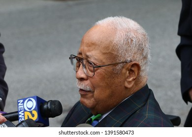 NEW YORK CITY - MAY 7 2019: Funeral Services were held for Queens County District Attorney Richard Brown at the Reform Synagogue of Forest Hills. Former NYC Mayor David Dinkins