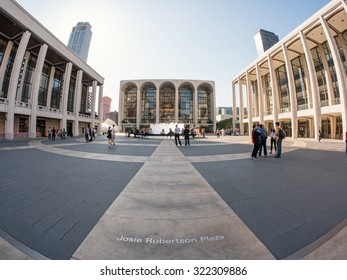 NEW YORK CITY - MAY 7, 2015: Lincoln Center and Josie Robertson square. Lincoln Center for the Performing Arts is a complex of buildings in the Lincoln Square neighborhood.