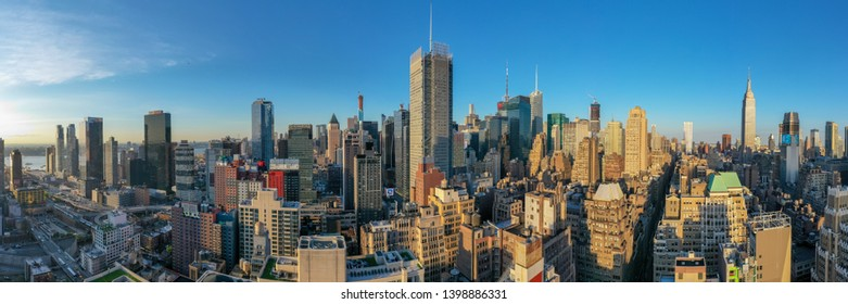New York City - May 8, 2019: Panoramic view of Midtown Manhattan in New York City during the day.