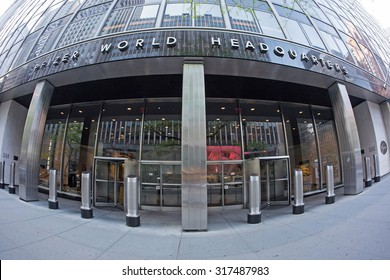 NEW YORK CITY - MAY 8, 2015: Pfizer building in Manhattan. Pfizer is an American multinational pharmaceutical corporation, one of the world's largest pharmaceutical companies.