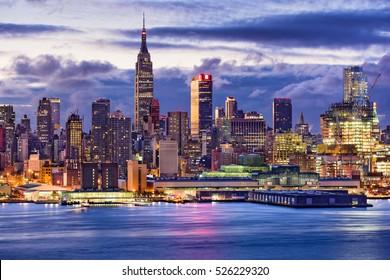New York City midtown Manhattan skyline across the Hudson River.