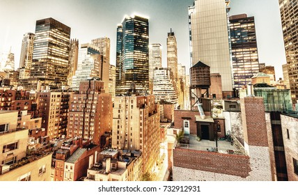 New York City. Midtown Manhattan buildings  at sunset, aerial view.