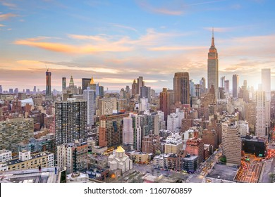 New York City midtown skyline at sunset in USA