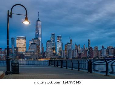New York City at night, Manhattan Skyline, USA