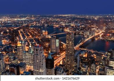 New York City at the night, Manhattan Skyline, USA