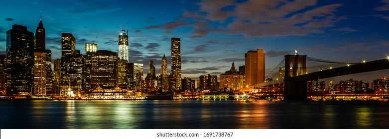 New York City Night Skyline at Blue Hour. Usa