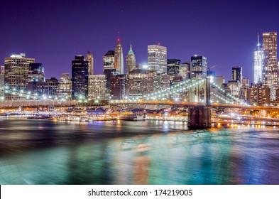 New York City night skyline.
