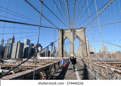 NEW YORK CITY - NOV 09, 2011: People on the Brooklyn Bridge.