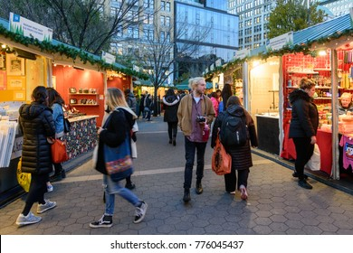 NEW YORK CITY - NOV. 23. 2017: People strolling and shopping the Union Square Holiday Market in Manhattan, New York City on Thanksgiving Day