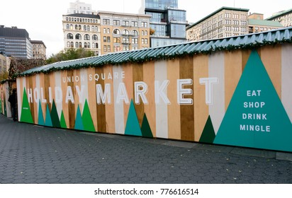 NEW YORK CITY - NOV. 23. 2017: The entrace and sign to  the Union Square Holiday Market in Manhattan, New York City