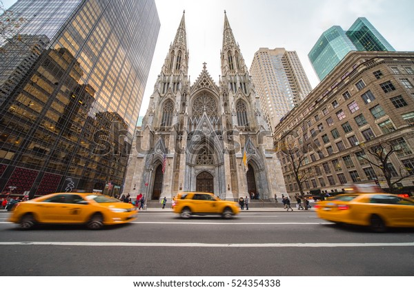 NEW YORK CITY - nov. 26: New York City landmark, St. Patrick's Cathedral on November 26, 2016. The cathedral is seat of the archbishop of the Roman Catholic Archdiocese of New York, and a parish