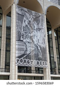 NEW YORK CITY - November 1, 2019: Art work for Porgy and Bess hanging at Lincoln Center for Performing Arts