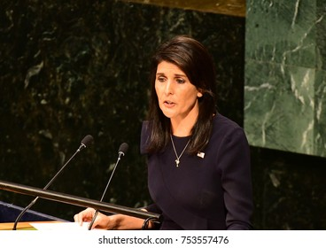 NEW YORK CITY - NOVEMBER 1 2017: The UN General Assembly debated continuing US sanctions against Cuba. Permanent UN Representative from the US, Nikki Haley urges maintaining sanctions