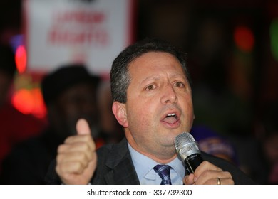 NEW YORK CITY - NOVEMBER 10 2015:Fight for Fifteen's national day of action began with a walk-out of fast food employees & rally in Brooklyn where mayor de Blasio spoke.City council member Brad Ladner