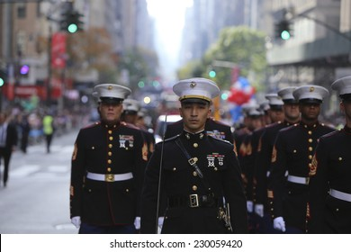 NEW YORK CITY - NOVEMBER 11 2014: the 95th annual Veteran's Day parade along Fifth Avenue is the largest Nov 11 celebration in the United States. US Marine Corps in formation