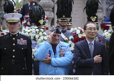 NEW YORK CITY - NOVEMBER 11 2014: the 95th annual Veteran's Day parade along Fifth Avenue is the largest Nov 11 celebration in the United States. Wreath ceremony by Eternal Light Monument