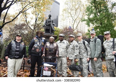 NEW YORK CITY - NOVEMBER 11 2015: New York City's Veterans Day parade was led by the US navy as this year's featured service.