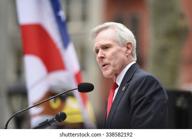 NEW YORK CITY - NOVEMBER 11 2015: New York City's Veterans Day parade was led by the US navy as this year's featured service. Secretary of the navy Ray Mabus