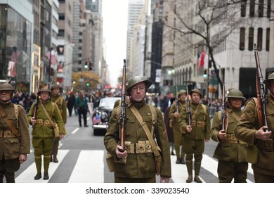 NEW YORK CITY - NOVEMBER 11 2015: the city's annual Veteran's Day parade was led by the US navy & grand marshal & navy veteran Robert Morgenthau. Marchers in doughboy uniforms