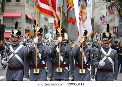 NEW YORK CITY - NOVEMBER 11 2015: New York City's Veterans Day was led by the US navy & grand marshal & world war two naval veteran Robert Morgenthau. Military academy cadets