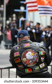 NEW YORK CITY - NOVEMBER 11 2015: New York City's Veterans Day was led by the US navy & grand marshal & world war two naval veteran Robert Morgenthau.