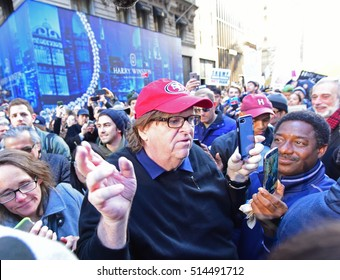 NEW YORK CITY - NOVEMBER 12 2016: Thousands of activists gathered in Union Square Park for another rally and protest against the election of Republican President-elect Donald Trump. Michael Moore