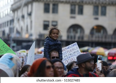 NEW YORK CITY - NOVEMBER 13 2016: More than two thousand activists marched from Columbus Circle to Midtown to protest President-elect Donald Trump's proposed immigration policies