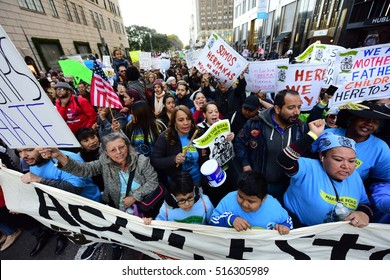 NEW YORK CITY - NOVEMBER 13 2016: Latinos, immigrants & supporters gathered 3,000 strong at Columbus Circle to protest & march against President-elect Donald Trump's proposed immigration policies