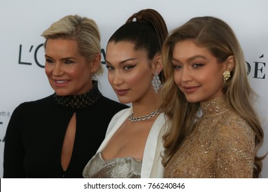NEW YORK CITY - NOVEMBER 13 2017: The annual Glamour Women of the Year Awards ceremony was held in Brooklyn's Kings Theater on Flatbush Ave. From lt: Yolanda Foster, Gigi Hadid & Bella Hadid