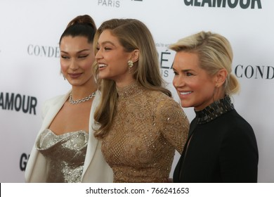 NEW YORK CITY - NOVEMBER 13 2017: The annual Glamour Women of the Year Awards ceremony was held in Brooklyn's Kings Theater on Flatbush Ave. From left: Bella Hadid, Gigi Hadid & Yolanda Foster