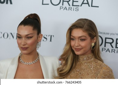 NEW YORK CITY - NOVEMBER 13 2017: The annual Glamour Women of the Year Awards ceremony was held in Brooklyn's Kings Theater on Flatbush Ave. Left, Bella Hadid & Gigi Hadid