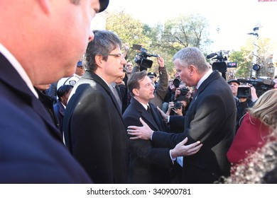 NEW YORK CITY - NOVEMBER 14 2015: A rally at Washington Square culminated in a candlelight vigil outside the French consulate for victims in Paris. Mayor de Blasio & consul-general Bertrand Lortholary
