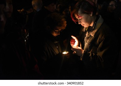 NEW YORK CITY - NOVEMBER 14 2015: A day that began with a rally at Washington Square Park culminated in a candlelight vigil outside the French consulate for victims of the Paris terror attacks